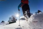 Sonnenschein und Schneeschuhaction