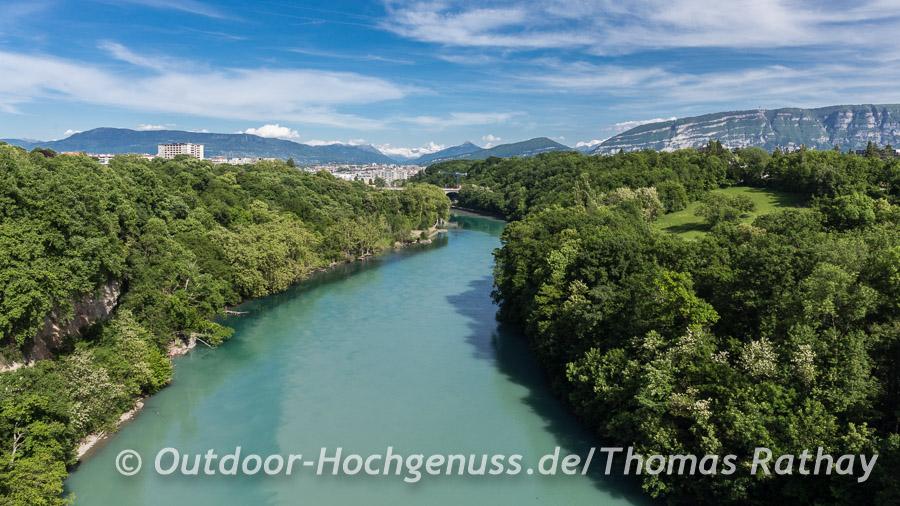 Perfekte Kombination: Rhone und der Mont Blanc