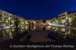 Schön illuminiert der Marktplatz in Tain l´Hermitage