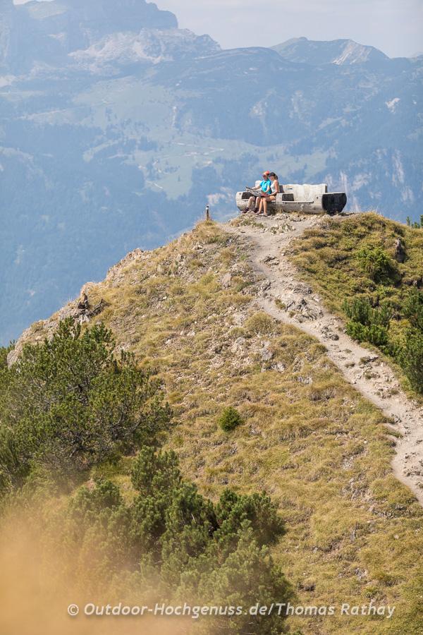 Aussichtsbank beim Gratlspitz-Gipfel