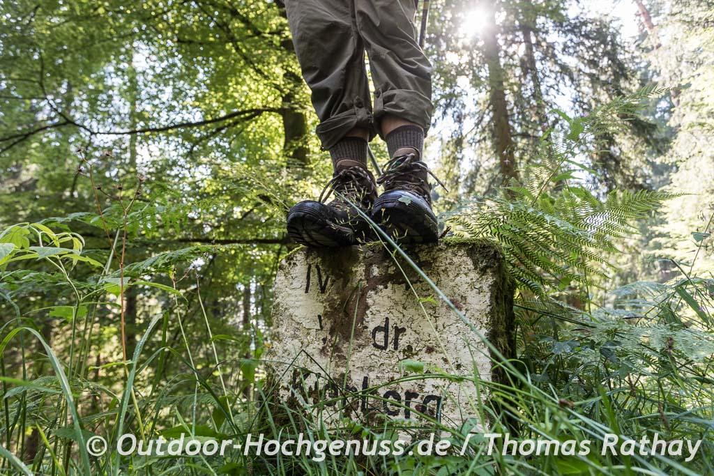 Wanderwegstein im Schwarzwald