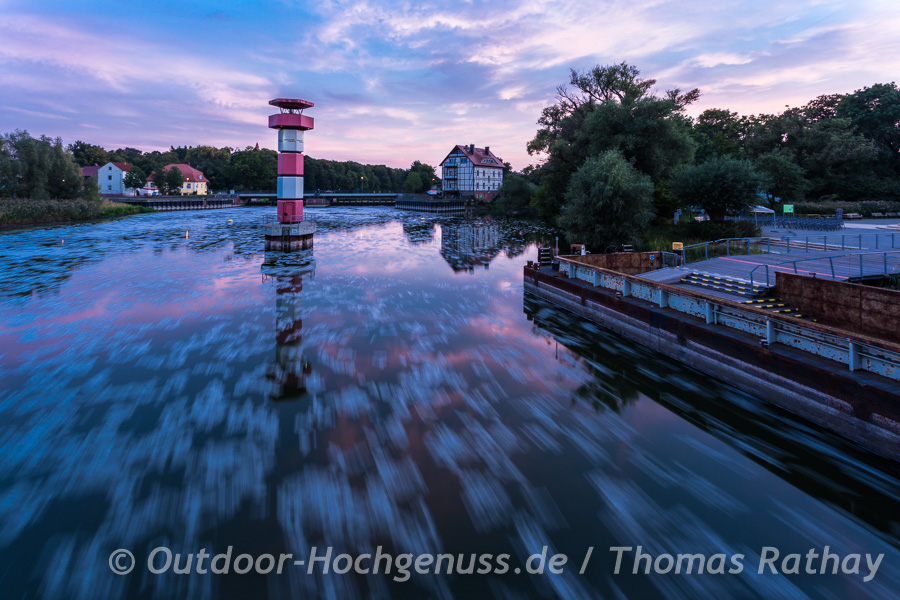 Abends in Rathenow, Stadt der Optik im Havelland
