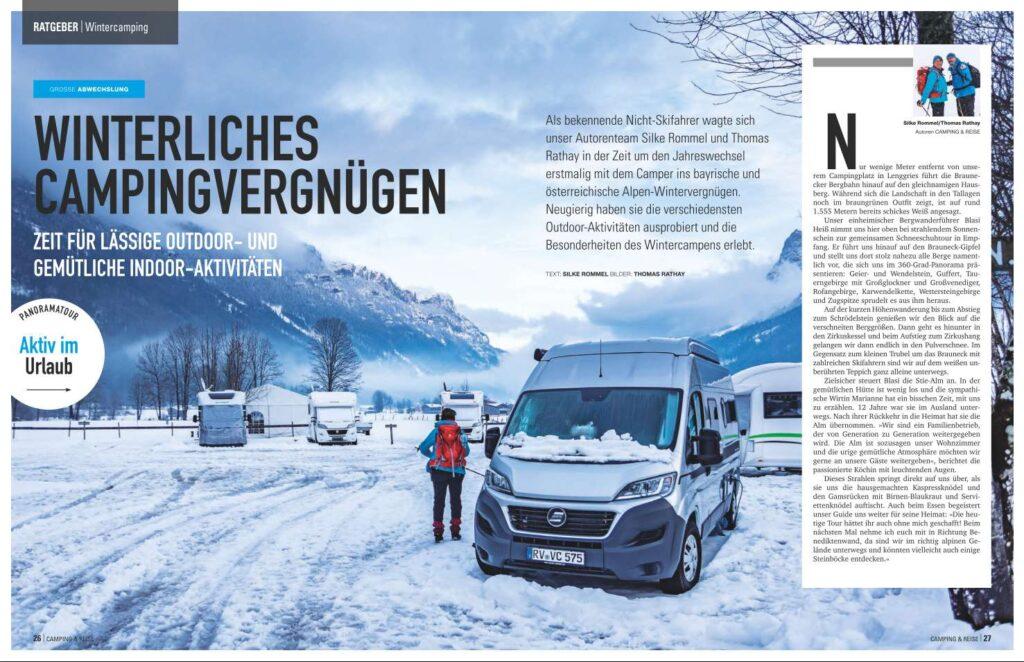 Wintercamping in den Alpen für den Modellsportverlag