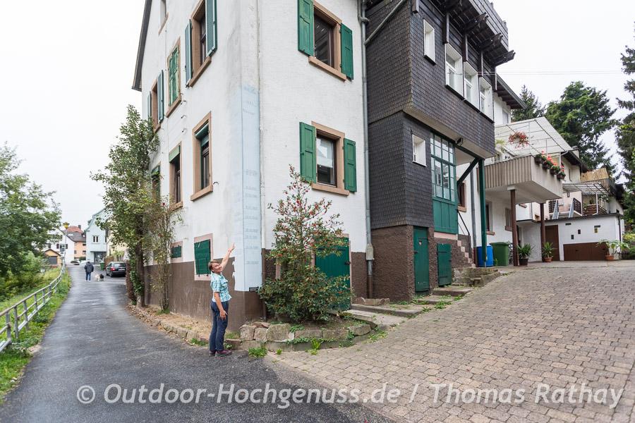 Hochwassermarke in Neckargemünd