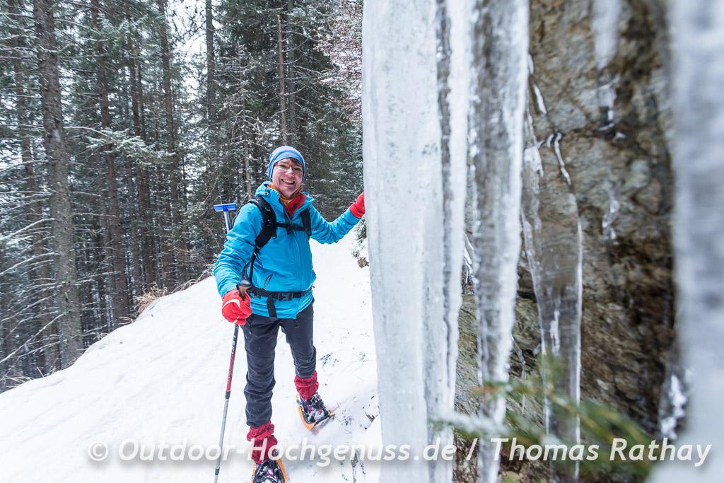 Eiszapfen auf dem Weg zur Schönwetterhütte