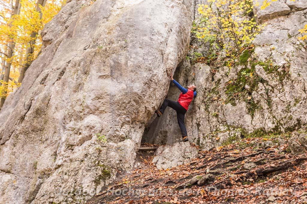 Felsen klettern auf der Schwäbischen ALb