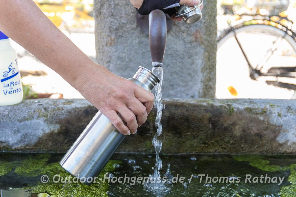 Wildbär Getränkeflasche am Brunnen
