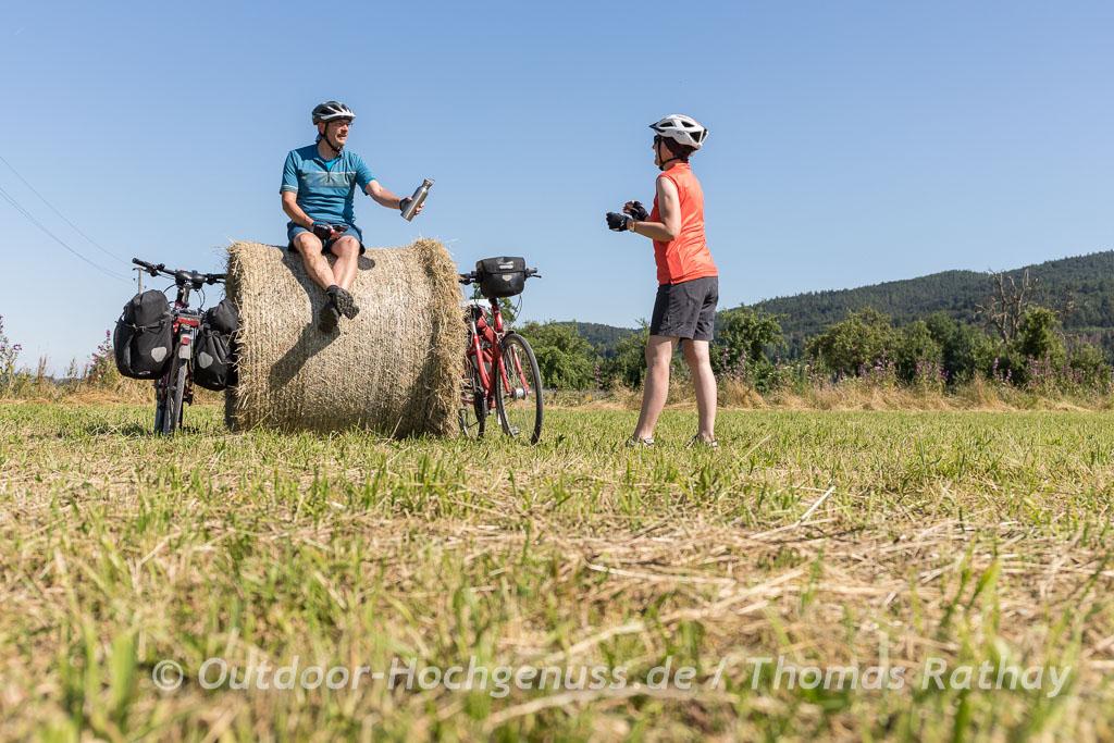 Wildbär Wasserflasche auf einer Radtour