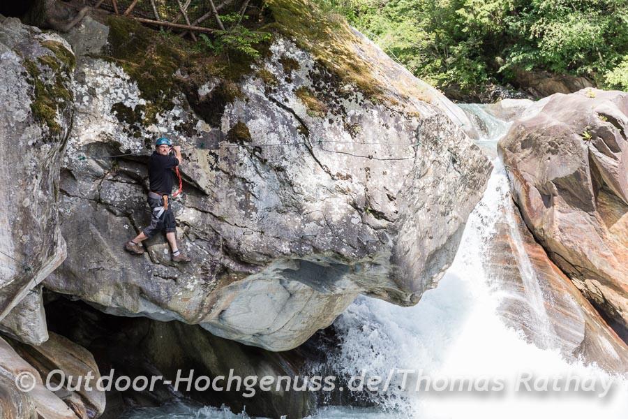 Kletter am Fels in der Passer