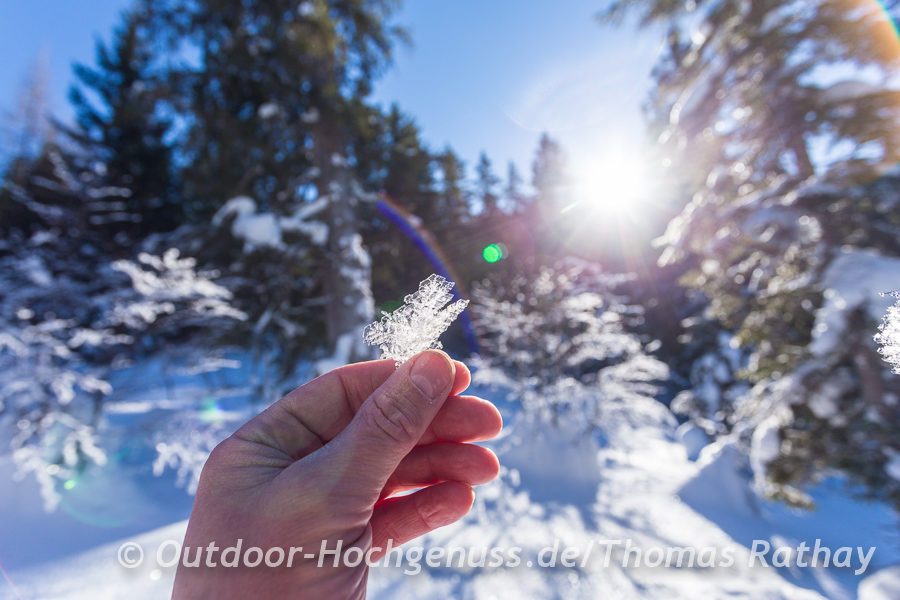 Schneekristalle glitzern im Sonnenlicht