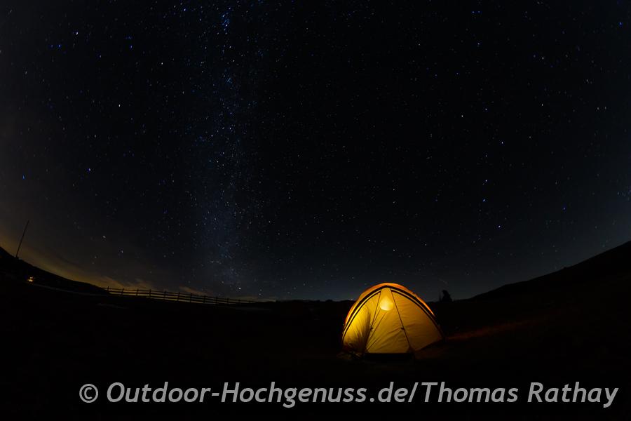 Winterbiwak, Zelt, Sternenhimmel